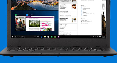 A laptop with Microsoft Edge on the screen