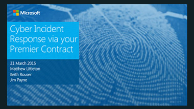 Cyber Incident Response via Your Premier Support Contract