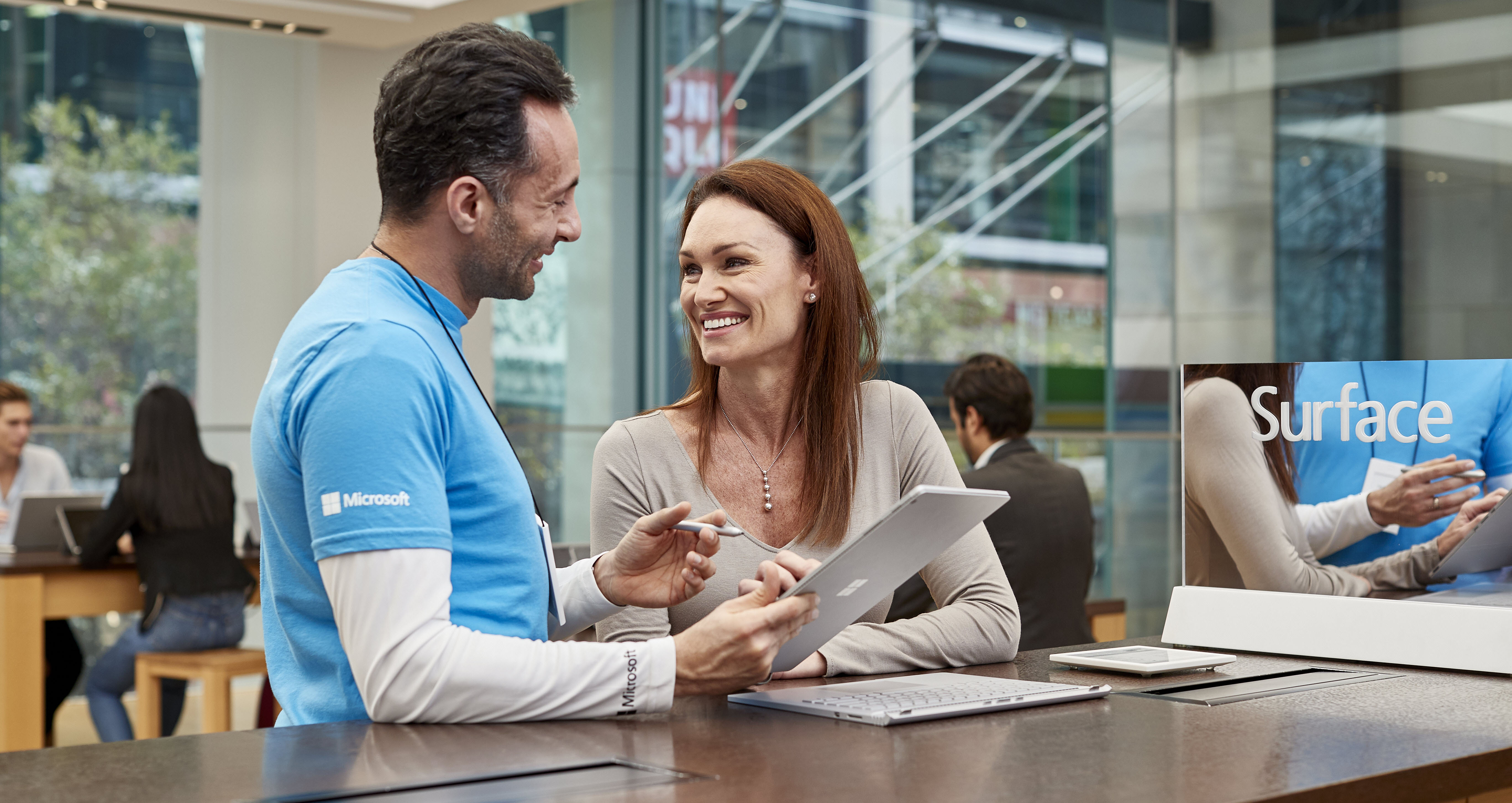 Woman attending Microsoft in-store workshop
