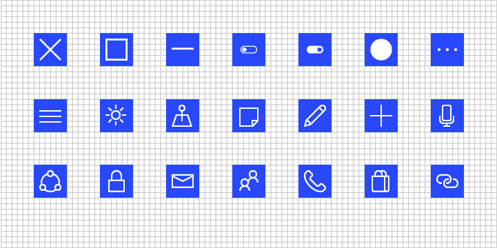 Grid examples showing various icons on the grid