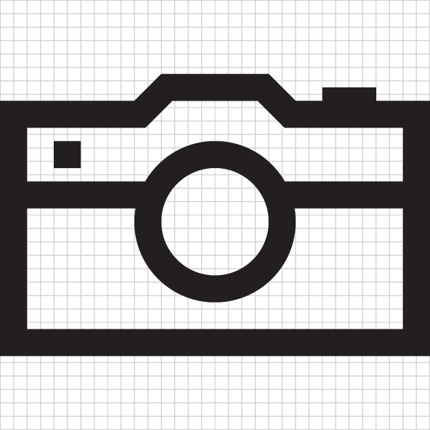 Enlarged examples of a camera icon on a 32x32 grid