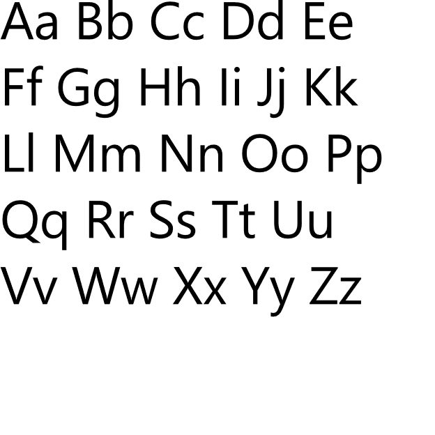 Example of typography showing the alphabet in uppercase and lowercase letters in Segoe UI