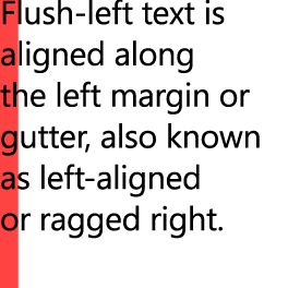 Example showing flush left alignment