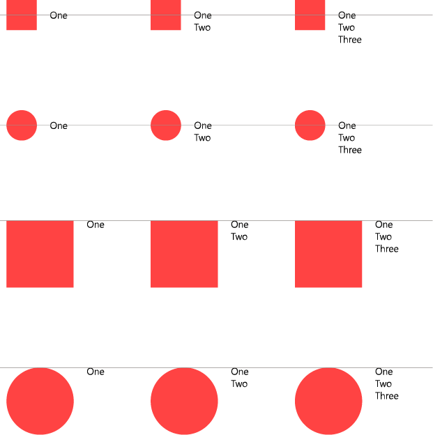 Various examples showing different degrees of hanging text alignment