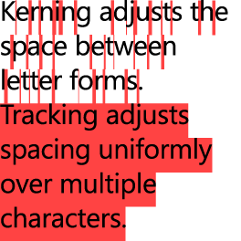 Example showing kerning space between letter forms