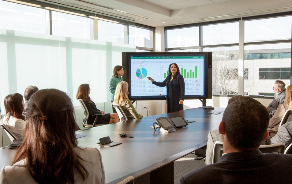 Woman presenting information on a large screen to a conference room filled with people.