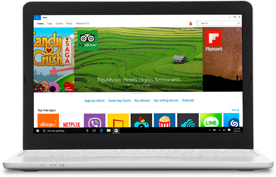 Laptop with the Windows Store on the screen