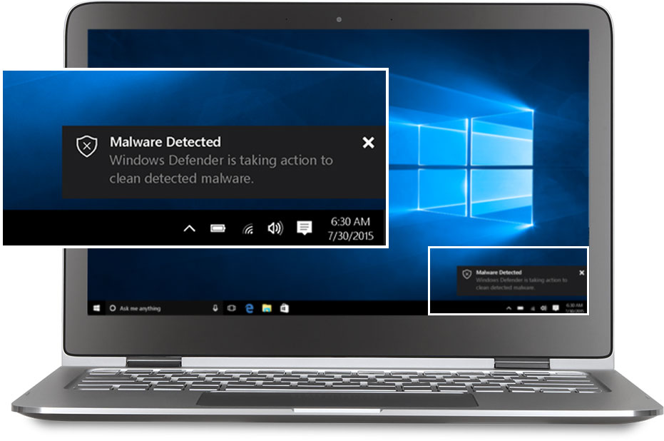 A laptop with Windows Defender on the screen.