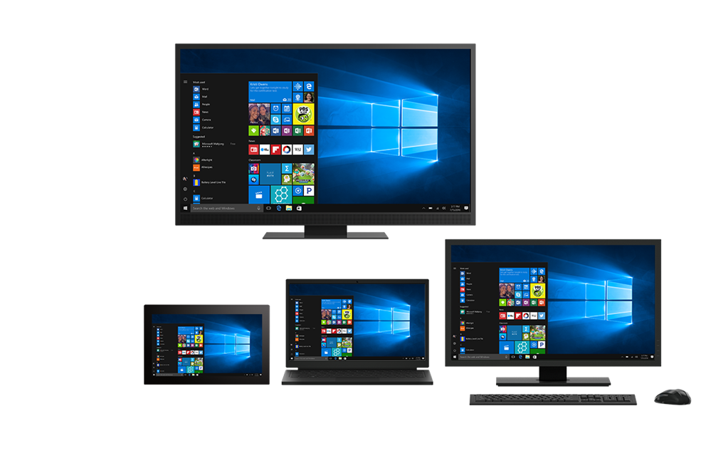 Windows 10 devices displaying simplified deployment and management