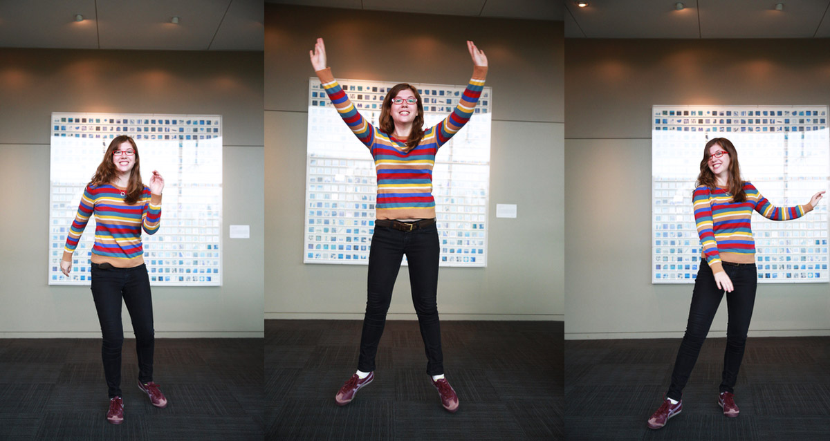 Sarah Filman posing in different ways
