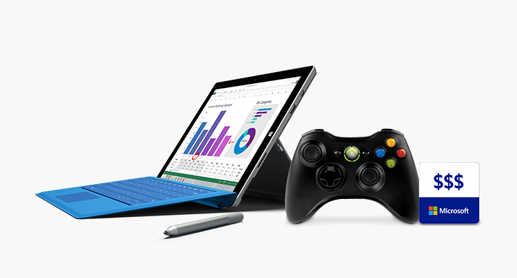 Image of Microsoft products, xbox, pc, to trade in for giftcard