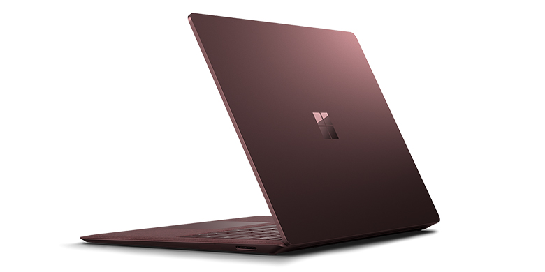 Rear view of Surface Laptop in Burgundy