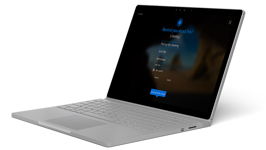 Surface Book with Cortana interactive screen.