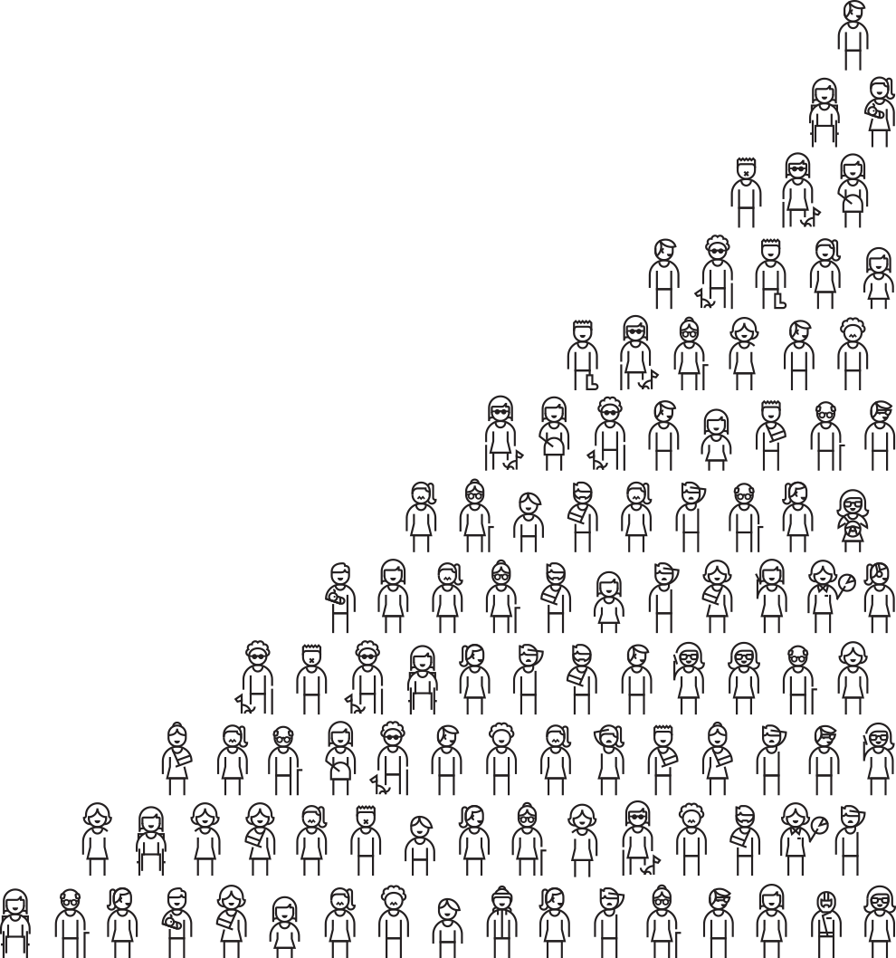 Line drawing illustrating a diverse group of people standing in rows.