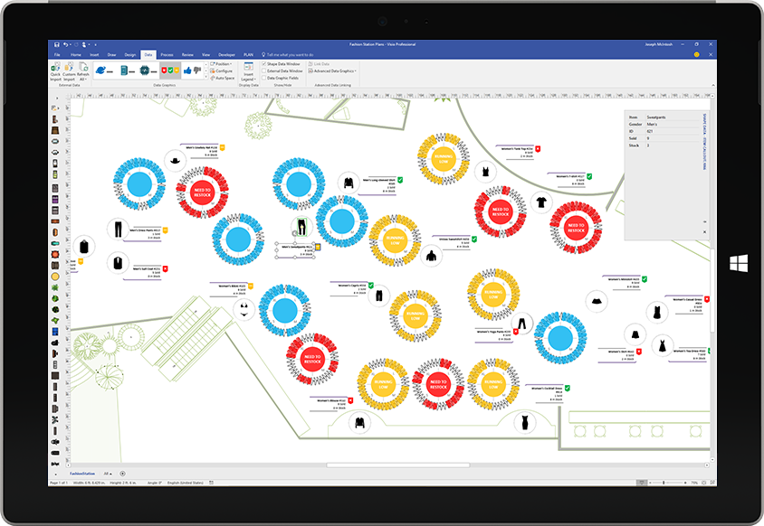 A Surface tablet displaying a custom data visualization in Visio
