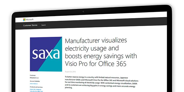 A computer screen displaying the case study, 'Manufacturer visualizes electricity usage and boosts energy savings with Visio Pro for Office 365'