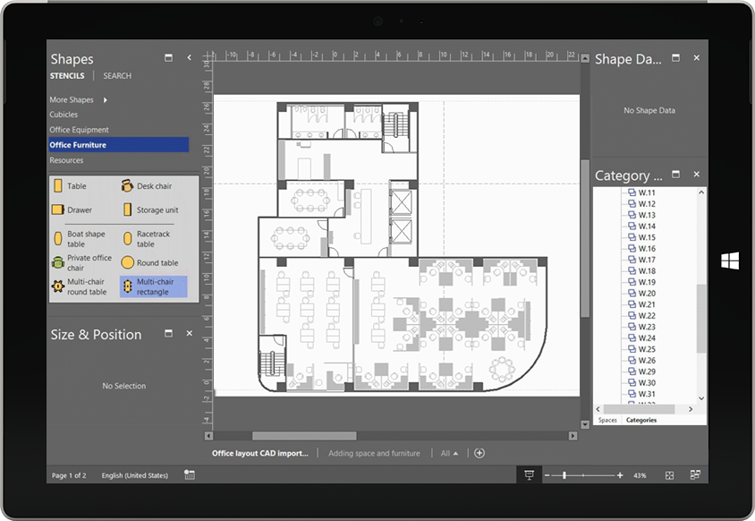 A tablet screen displaying an animation of a manufacturing process in Visio