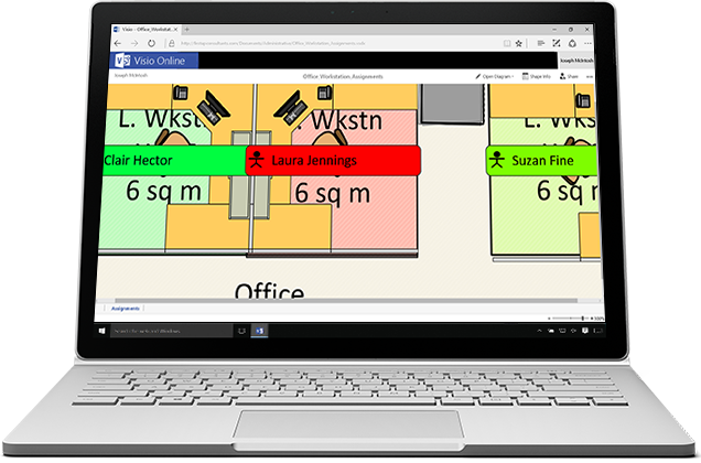 A laptop displaying a zoomed image in Visio Online