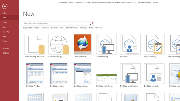 The New database screen in Microsoft Access