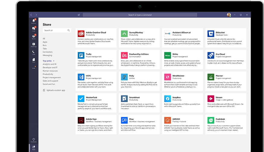 Microsoft App Store displayed in Teams