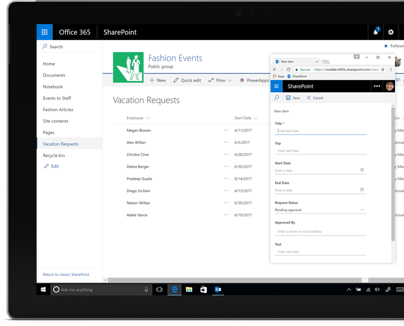 a SharePoint list showing vacation requests