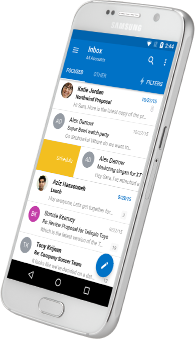 A smartphone displaying an Outlook inbox