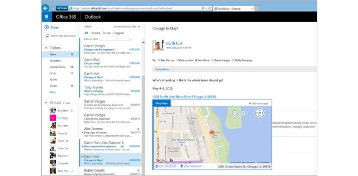 Close-up of a user's inbox in Outlook on the web, powered by Exchange.