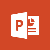 Microsoft PowerPoint logo, get information about the PowerPoint mobile app in page