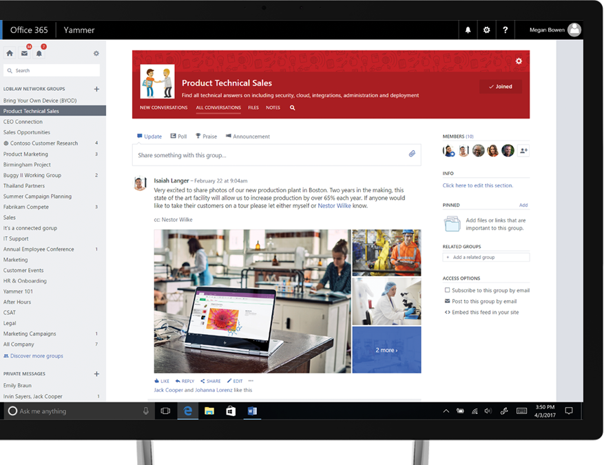 Yammer on a tablet PC with photos being shared and a cross-functional technical-sales group