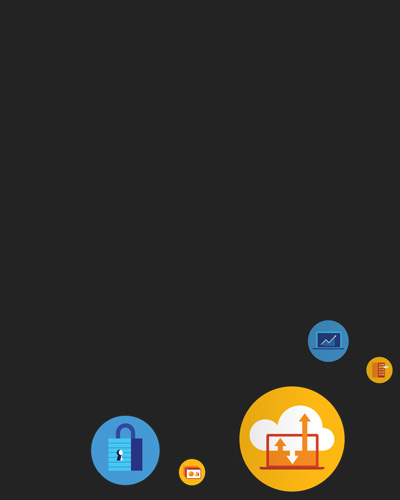 Colorful icons depicting Office cloud capabilities
