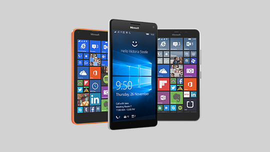 The backs and fronts of five Lumia phones