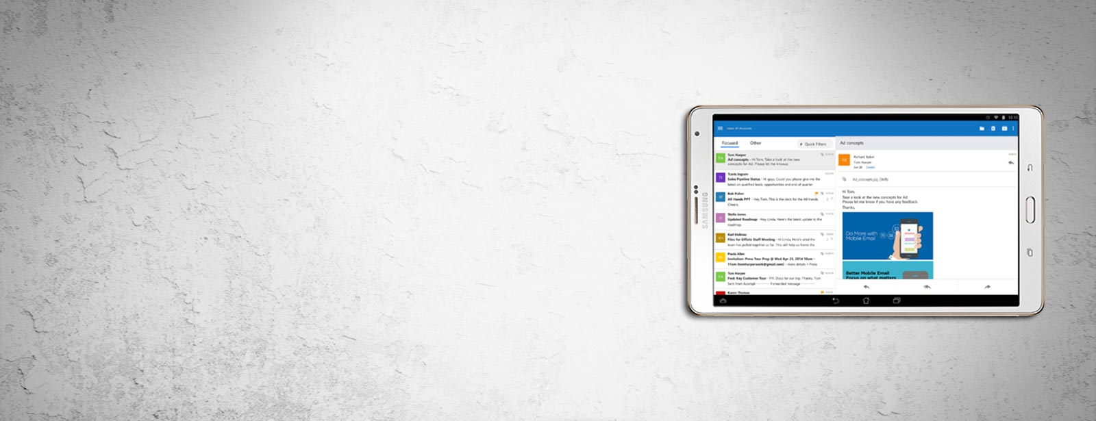 Outlook on Android tablet