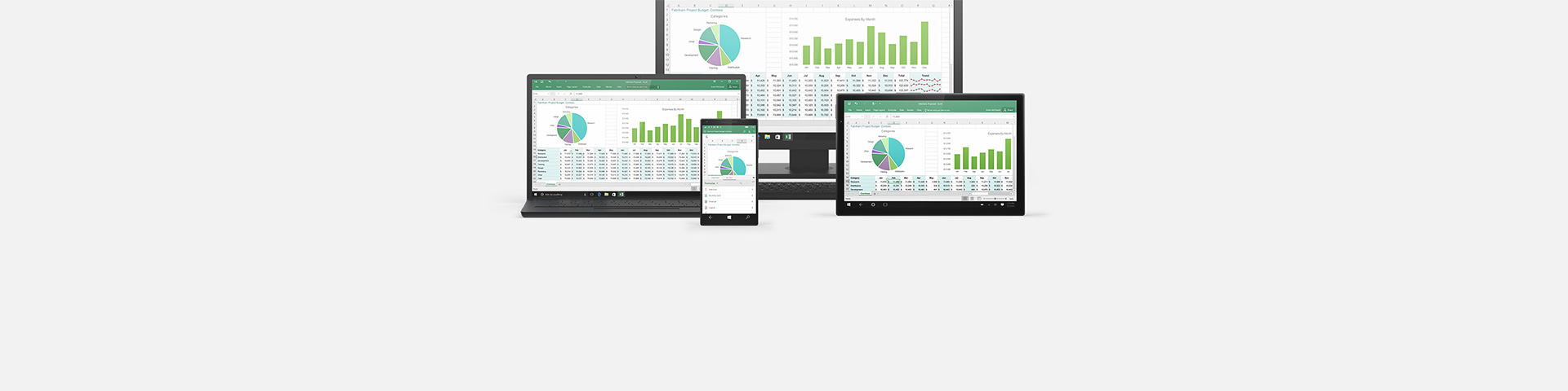 Multiple devices showing an Excel worksheet
