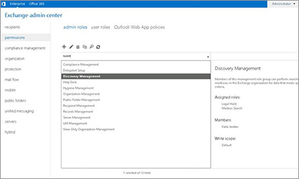 Screenshot of permissions page in Exchange admin center, where you manage admin roles.
