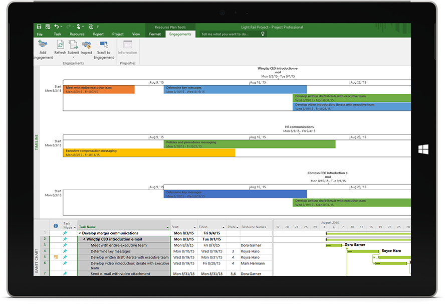 Microsoft Surface tablet screen showing a Project file with a project timeline and Gantt chart in Project Professional.