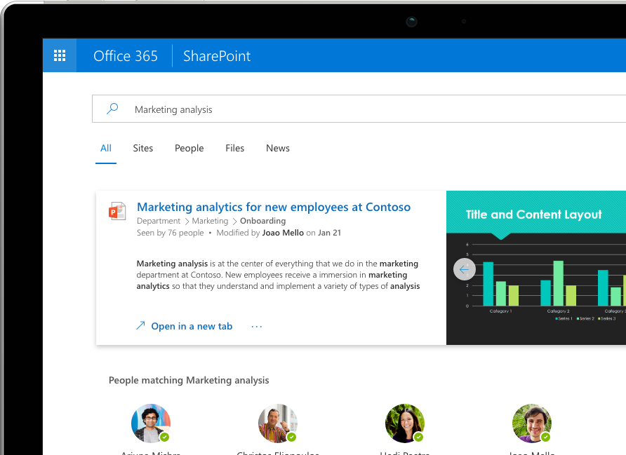 Intelligent Search and Discovery in SharePoint shows personalized results across Office 365 displayed on a Surface Pro