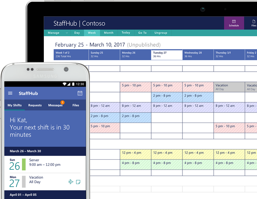 The StaffHub app showing tasks on a smart phone and a tablet computer