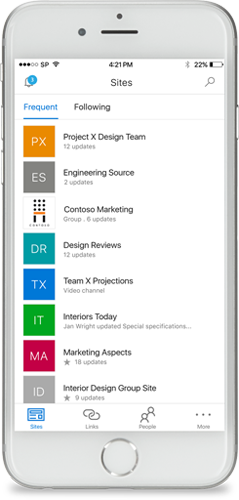 Screenshot of a SharePoint on a mobile device.