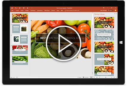 A tablet showing the Designer feature within a PowerPoint presentation slide.