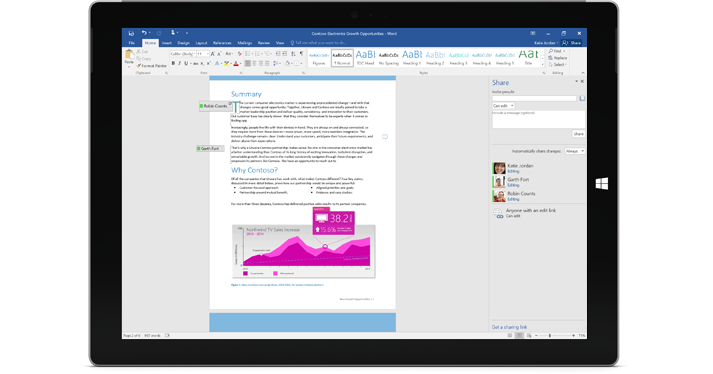 A Surface Pro 3 showing the coauthoring feature in Word