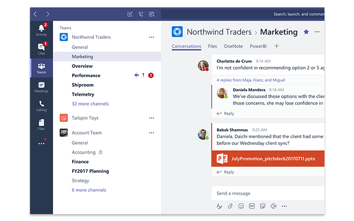 Tablet screen showing Microsoft Teams