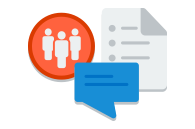 An icon of a document and instant message window