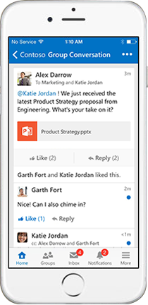 IPhone displaying a group conversation in Yammer