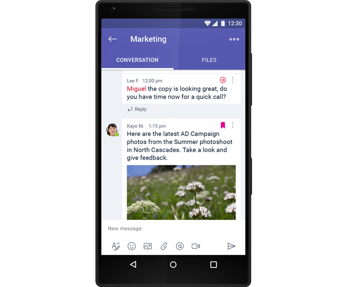 A smartphone showing a group chat conversation in Microsoft Teams