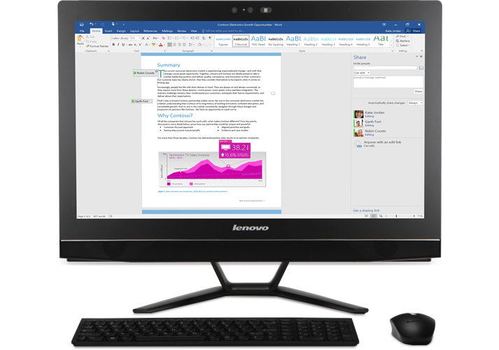 A desktop computer, showing a close-up of the coauthoring feature in a Word document stored on OneDrive for Business
