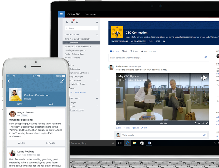 Yammer on a smart phone showing a request for question for a CEO town hall and Yammer on a laptop showing a video recording of the CEO town hall