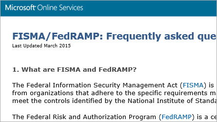 Microsoft Online Services page displaying FISMA/FedRAMP information, read the FISMA/FedRAMP FAQ