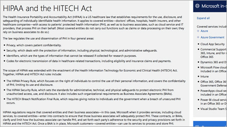 Microsoft Trust Center page, read information about HIPAA/HITECH