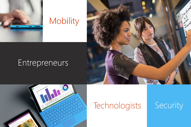 Images of a smartphone, tablet computer, and 2 people working on a technology issue—Modern Workplace covers issues like Mobility and Security with entrepreneurs, technologists, and other experts.