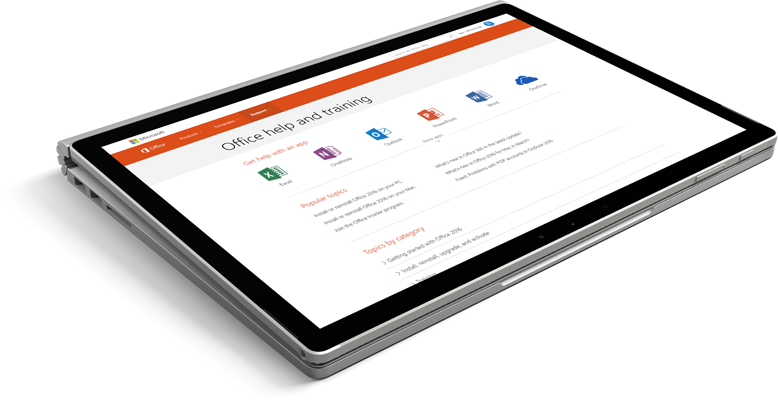 Laptop with Office support website